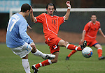 Virginia's Joe Vide (10) blocks a pass by Carolina's David Bole (17) on Sunday, November 27th, 2005 at Fetzer Field in Chapel Hill, North Carolina. The University of North Carolina Tarheels defeated the University of Virginia Cavaliers 2-1 in a NCAA Men's Soccer Tournament Round of 16 game.