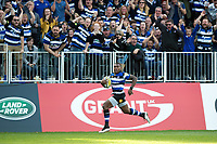 Semesa Rokoduguni of Bath Rugby races in a try. Aviva Premiership match, between Bath Rugby and Newcastle Falcons on September 23, 2017 at the Recreation Ground in Bath, England. Photo by: Patrick Khachfe / Onside Images