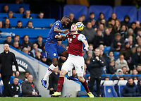 11th January 2020; Stamford Bridge, London, England; English Premier League Football, Chelsea versus Burnley; Antonio Rudiger of Chelsea and Chris Wood of Burnley compete for the ball - Strictly Editorial Use Only. No use with unauthorized audio, video, data, fixture lists, club/league logos or 'live' services. Online in-match use limited to 120 images, no video emulation. No use in betting, games or single club/league/player publications