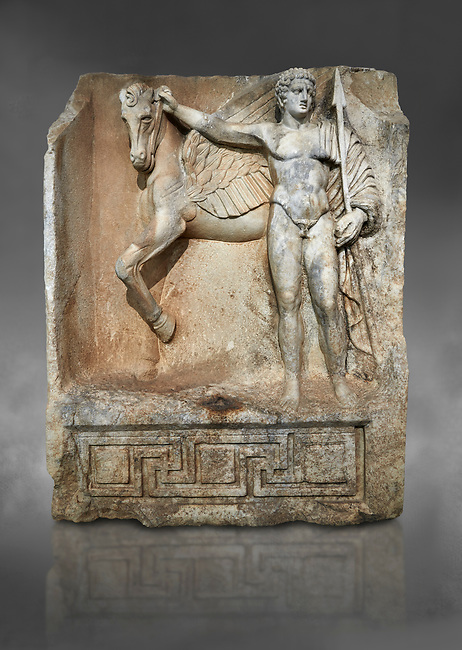"""Roman Sebasteion relief  sculpture of  Bellerophon Aphrodisias Museum, Aphrodisias, Turkey. Against a grey background.<br /> <br /> Bellerophon was a Lykian hero and was claimed as a founder of Aphrodisias. He holds his winged horse Pegasos. The deign was modelled on another relief panel in the series """"Royal hero with Dod Hunting"""". The carving is poor and the sculptor may have been a novice.modelled"""