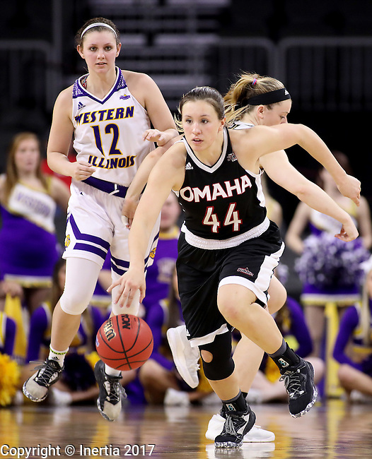 SIOUX FALLS, SD: MARCH 6: 	Michaela Dapprich #44 of Omaha dribbles away from Western Illinois defenders during the Summit League Basketball Championship on March 6, 2017 at the Denny Sanford Premier Center in Sioux Falls, SD. (Photo by Dick Carlson/Inertia)