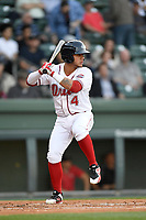 Third baseman Everlouis Lozada (4) of the Greenville Drive bats in a game against the Rome Braves on Thursday, April 12, 2018, at Fluor Field at the West End in Greenville, South Carolina. Greenville won, 14-4. (Tom Priddy/Four Seam Images)