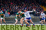 Dara Moynihan  Kerry in action against Dessie Ward, Dermot Malone Monaghan during the Allianz Football League Division 1 Round 5 match between Kerry and Monaghan at Fitzgerald Stadium in Killarney, on Sunday.