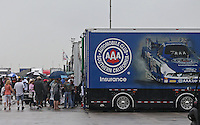 Apr. 27, 2013; Baytown, TX, USA: NHRA fans near the hauler of funny car driver Robert Hight during qualifying for the Spring Nationals at Royal Purple Raceway. Mandatory Credit: Mark J. Rebilas-