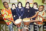 DRUMMING: Getting lesson on South African drumming at Scoil Phobal Sliabh Luachra in Rathmore last Thursday, l-r: Desire Busingye, Meg Crancher, Aoife Lenihan, Katie O'Dea, Fiona Culloty, Zola Nanizaya.