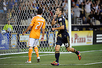 Jack McInerney (19) of the Philadelphia Union celebrates scoring. The Philadelphia Union and the Houston Dynamo played to a 1-1 tie during a Major League Soccer (MLS) match at PPL Park in Chester, PA, on August 6, 2011.