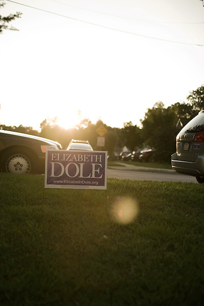 September 12, 2008. Cary, NC..  Responding to the highly contested race for the US Senate seat of North Carolina, between herself and Kay Hagan, incumbent Elizabeth Dole held a rally at the VFW hall in Cary to raise support for local Republican candidates and the presidential ticket of John McCain and Sarah Palin.
