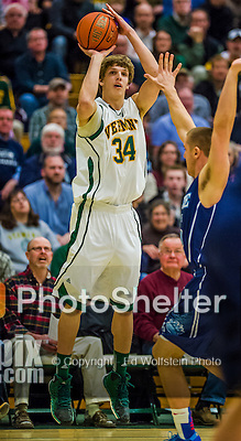 4 February 2014: University of Vermont Catamount Forward Kurt Steidl, a Freshman from Ridgefield, CT, in action against the University of Maine Black Bears at Patrick Gymnasium in Burlington, Vermont. The Cats defeated the Bears 93-65 improving to 9-1 in America East and 15-9 overall. Mandatory Credit: Ed Wolfstein Photo *** RAW (NEF) Image File Available ***