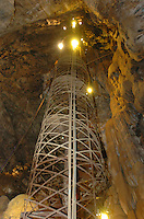 A spiral staircase containing 144 steps rises to the top of Moaning Cavern in Vallecito, California November 24, 2008. The amazing staircase was built in 1922 and is made of steel. (Photo Copyright Alan Greth)