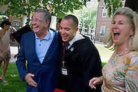 Nick Culbertson (center), of Dunellen, New Jersey, laughs after posing for pictures with Dr. David Myers (left) and Sue Myers after Culbertson received his diploma at the Quincy House ceremony during Harvard University Commencement on May 26, 2011, in Cambridge, Massachusetts, USA.<br /> <br /> <br /> Photo: M. Scott Brauer for the Star-Ledger