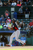 Potomac Nationals outfielder Isaac Ballou (10) at bat during a game against the Myrtle Beach Pelicans at Ticketreturn.com Field at Pelicans Ballpark on May 23, 2015 in Myrtle Beach, South Carolina.  Myrtle Beach defeated Potomac 7-3. (Robert Gurganus/Four Seam Images)