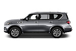 Car driver side profile view of a 2018 Infiniti QX80 Base 5 Door SUV