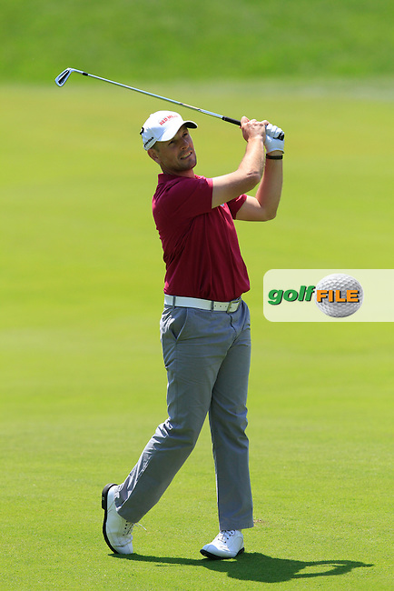 David Higgins (IRL) on the 18th during Saturday's Round 3 of The Open De Espana at The PGA Catalunya Resort. 17th May 2014.<br /> Picture:  Thos Caffrey / www.golffile.ie