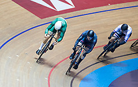 26th January 2020; National Cycling Centre, Manchester, Lancashire, England; HSBC British Cycling Track Championships; Men's keirin final, Joseph Truman in green rounds Matt Roper in black on the final bend to take gold
