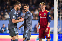 BRONX, New York - Saturday, April 11, 2018: New York City FC defeats Real Salt Lake 4-0 at home at Yankee Stadium during the MLS regular season.