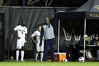 WINSTON-SALEM, NC - DECEMBER 01: Head coach Chaka Daley of the University of Michigan yells instructions to his team during a game between Michigan and Wake Forest at W. Dennie Spry Stadium on December 01, 2019 in Winston-Salem, North Carolina.