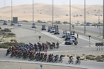 The peloton in action during Stage 3 of the 2019 UAE Tour, running 179km form Al Ain to Jebel Hafeet, Abu Dhabi, United Arab Emirates. 26th February 2019.<br /> Picture: LaPresse/Fabio Ferrari | Cyclefile<br /> <br /> <br /> All photos usage must carry mandatory copyright credit (© Cyclefile | LaPresse/Fabio Ferrari)