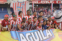 BARRANQUIILLA -COLOMBIA-28-02-2015: Jugadores de Atlético Junior posan para una foto previo al encuentro con Envigado FC durante partido por la fecha 7 de la Liga Águila I 2015 jugado en el estadio Metropolitano Roberto Meléndez de la ciudad de Barranquilla./ Players of Atletico Junior pose to a photo prior the match agaisnt Envigado FC for the 7th  date of the Aguila League I 2015 played at Metropolitano Roberto Melendez stadium in Barranquilla city.  Photo: VizzorImage/Alfonso Cervantes/STR