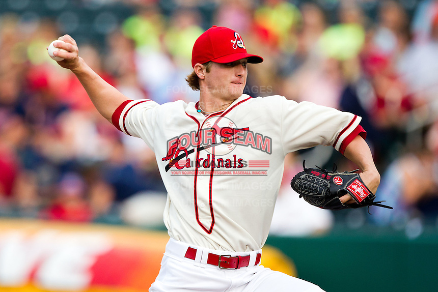 Shelby Miller (26) of the Springfield Cardinals delivers a pitch during a game against the Northwest Arkansas Naturals and the Springfield Cardinals at Hammons Field on July 30, 2011 in Springfield, Missouri. Springfield defeated Northwest Arkansas 11-5. (David Welker / Four Seam Images)