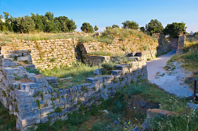 Portion of the walls & entrance gate of Troy (VII), identified as the site of the Trojan War (ca. 1200 BC). Troy archaeological site, A UNESCO World Heritage Site, Turkey