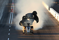 Feb. 22, 2013; Chandler, AZ, USA; NHRA top fuel dragster driver Khalid Albalooshi blows an engine on fire during qualifying for the Arizona Nationals at Firebird International Raceway. Mandatory Credit: Mark J. Rebilas-