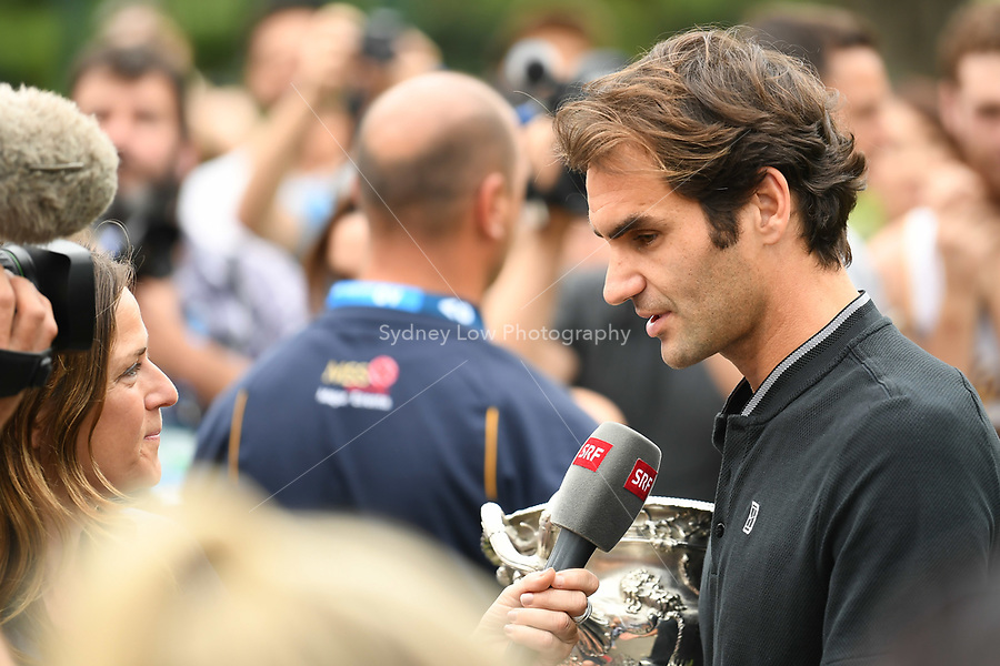 January 30, 2017: Roger Federer of Switzerland conducts a press conference at the Royal Exhibition Building after winning the Men's Final against Rafael Nadal of Spain in the 2017 Australian Open Grand Slam tennis tournament in Melbourne, Australia. Photo Sydney Low