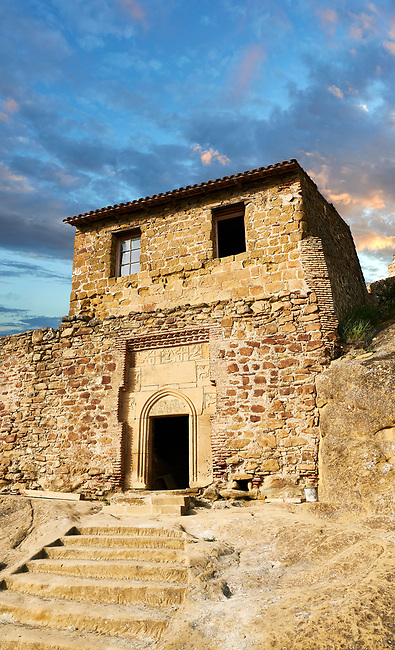 Picture & image of main gate house of David Gareja Georgian Orthodox monastery, Mount Gareja, Kakheti Region, Georgia (country). 25 km (15 miles) from Gardabani<br /> <br /> Founded in the 6th century by David (St. David Garejeli), one of the  thirteen Assyrian monks who built monasteries throughout Georgia. The 24 plus monasteries of David Gareja are spread out over a huge area of the arid Mount Gareja ridge, with small cells and chapels cut into cliff faces.