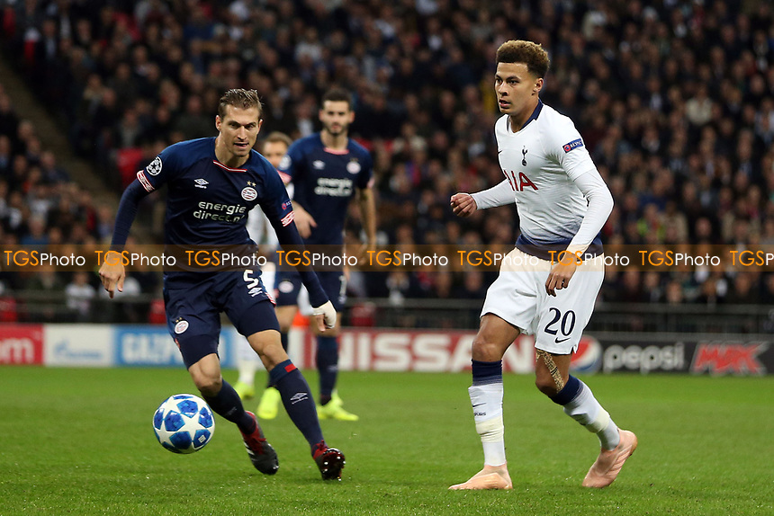 Daniel Schwaab of PSV Eindhoven and Dele Alli of Tottenham Hotspur during Tottenham Hotspur vs PSV Eindhoven, UEFA Champions League Football at Wembley Stadium on 6th November 2018