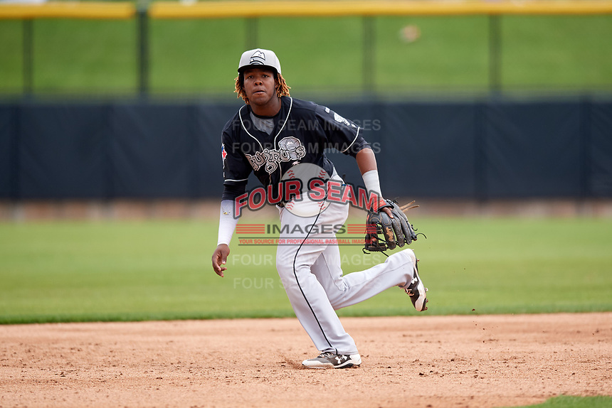 Lansing Lugnuts third baseman Vladimir Guerrero Jr. (27) ranges to his right during a game against the Clinton LumberKings on May 9, 2017 at Ashford University Field in Clinton, Iowa.  Lansing defeated Clinton 11-6.  (Mike Janes/Four Seam Images)
