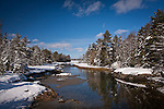 Fresh snow at Carrying Place on the Skillings River, Hancock County, ME, USA