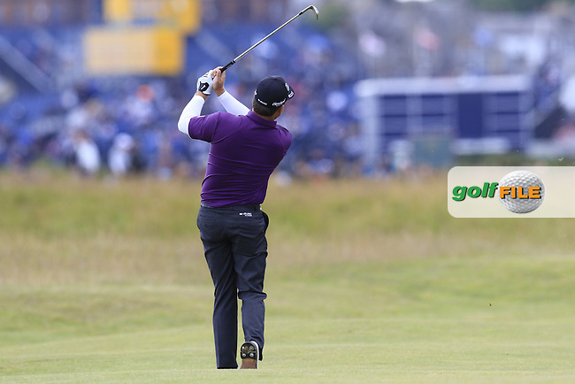 Graeme McDOWELL (NIR) plays his 2nd shot on the 15th hole  during Sunday's Round  of the 144th Open Championship, St Andrews Old Course, St Andrews, Fife, Scotland. 19/07/2015.<br /> Picture Eoin Clarke, www.golffile.ie