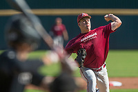 Hawgs Illustrated/BEN GOFF <br /> Evan Lee pitches for Cardinal team Wednesday, Oct. 11, 2017, during the Arkansas baseball Fall World Series scrimmage at Baum Stadium in Fayetteville.