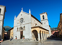 The church of St. Benedict, before the 2106 earthquake, and the birthplace of St. Benedict, Piazza San Benedetto, Norcia, Umbria, Italy