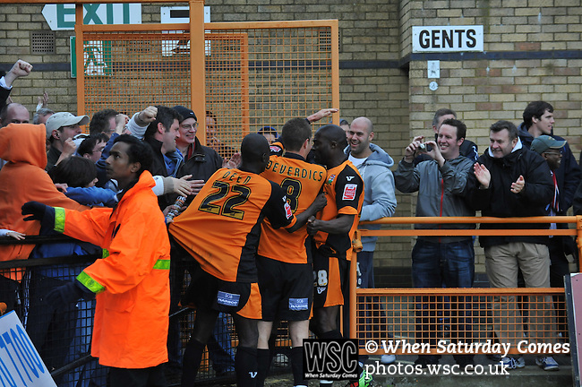 Barnet 1 Rochdale 0, 08/05/2010. Underhill Stadium, League 2. The final game of the season at Underhill. The Bees must beat Rochdale to guarantee their survival. Rochdale are celebrating promotion to League one. Barnet players celebrate Albert Jarret's 89th minute deflected strike. Photo by Simon Gill.