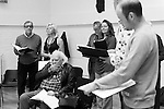 """King Lear"" rehearsed reading rehearsals. Old Vic Theatre. Director: Jonathan Miller. L to R: Michael York, Felicity Dean, Joss Ackland, John Nettles, Greta Scaachi, Jack Tarlton."