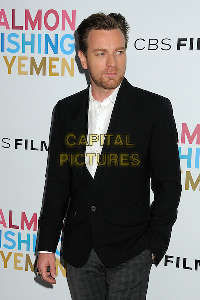 Ewan McGregor.CBS Films' U.S. Premiere of 'Salmon Fishing In The Yemen' held at The Directors Guild of America in West Hollywood, California, USA..March 5th, 2012.half length jacket suit hand in pocket stubble facial hair white black .CAP/ADM/BP.©Byron Purvis/AdMedia/Capital Pictures.