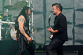 DISTURBED - John Moyer and Dan Donegan - performing live on Day Three on the Lemmy Stage at Download Festival at Donington Park UK - 12 Jun 2016.  Photo credit: Zaine Lewis/IconicPix