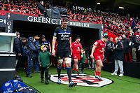 Luke Charteris of Bath Rugby, mascot in hand, leads his team out onto the field. Heineken Champions Cup match, between Stade Toulousain and Bath Rugby on January 20, 2019 at the Stade Ernest Wallon in Toulouse, France. Photo by: Patrick Khachfe / Onside Images