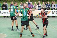 KORFBAL: GORREDIJK: sportpark Kortezwaag, 23-09-2012, hoofdklasse A, LDODK - Mid Fryslan, Eindstand 17-17, Henk Bijker (#18 | LDODK), Markus de Boer (#16 | LDODK), Wiebe Huitema (#21 | MF), Sjoerd Pool (#17 | MF), ©foto Martin de Jong