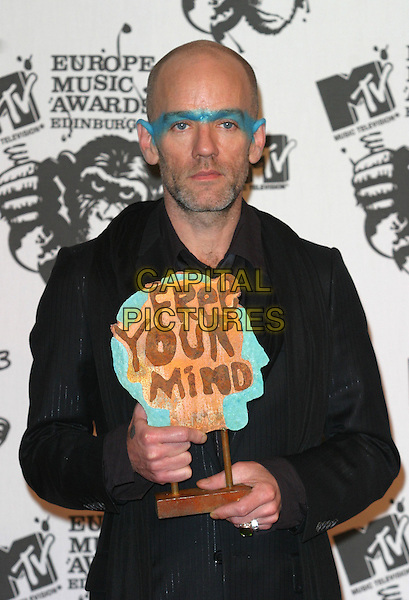 MICHAEL STIPE - R.E.M..MTV Europe Music Awards 2003 Held At The Western Harbour, Leith, Edinburgh, Scotland.Ref: Ten.half length, half-length, make-up, trophy.www.capitalpictures.com.sales@capitalpictures.com.©Capital Pictures