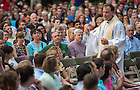 Jul. 23, 2015; ACE Prayer Service at the Grotto. (Photo by Matt Cashore/University of Notre Dame)
