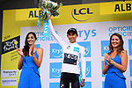 Egan Bernal (COL) Team Ineos takes over the young riders White Jersey at the end of Stage 10 of the 2019 Tour de France running 217.5km from Saint-Flour to Albi, France. 15th July 2019.<br /> Picture: ASO/Pauline Ballet | Cyclefile<br /> All photos usage must carry mandatory copyright credit (© Cyclefile | ASO/Pauline Ballet)