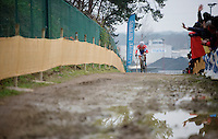 Lars Van der Haar (NLD/Giant-Shimano) leading the race<br /> <br /> Zolder CX UCI World Cup 2014