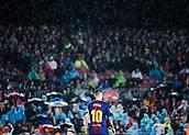 4th November 2017, Camp Nou, Barcelona, Spain; La Liga football, Barcelona versus Sevilla; Leo Messi stands in the heavy rainfall