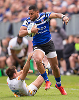 Bath Rugby's Joe Cokanasiga is tackled by Wasps' Rob Miller<br /> <br /> Photographer Bob Bradford/CameraSport<br /> <br /> Premiership Rugby Cup - Bath Rugby v Wasps - Sunday 5th May 2019 - The Recreation Ground - Bath<br /> <br /> World Copyright © 2018 CameraSport. All rights reserved. 43 Linden Ave. Countesthorpe. Leicester. England. LE8 5PG - Tel: +44 (0) 116 277 4147 - admin@camerasport.com - www.camerasport.com
