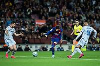 2nd February 2020; Camp Nou, Barcelona, Catalonia, Spain; La Liga Football, Barcelona versus Levante; Lionel Messi of FC Barcelona takes a shot on goal past Rochina and Postigo of Levante
