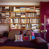 A living room with a purple sofa with built in bookshelves against one wall behind. A stainless steel floor lamp stands nearby.