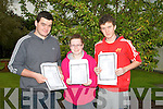 Jerome Griffin and Nicola Murphy (Killorglin) and Patrick Daly (Inch) happy with their Leaving Cert result as they collected them on Wednesday morning at Killorglin Community College........