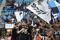 San Jose, CA - Saturday August 25, 2018: San Jose Earthquakes  during a Major League Soccer (MLS) match between the San Jose Earthquakes and Vancouver Whitecaps FC at Avaya Stadium.