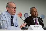 Bill Mckibben speaks at the Press Conference held by AOSIS, 350.org, and Avaaz. The press conference connected the dots between the civil society movement and the politics of climate change.  (Images free for Editorial Web usage for Fresh Air Participants during COP 15. Credit: Robert vanWaarden)